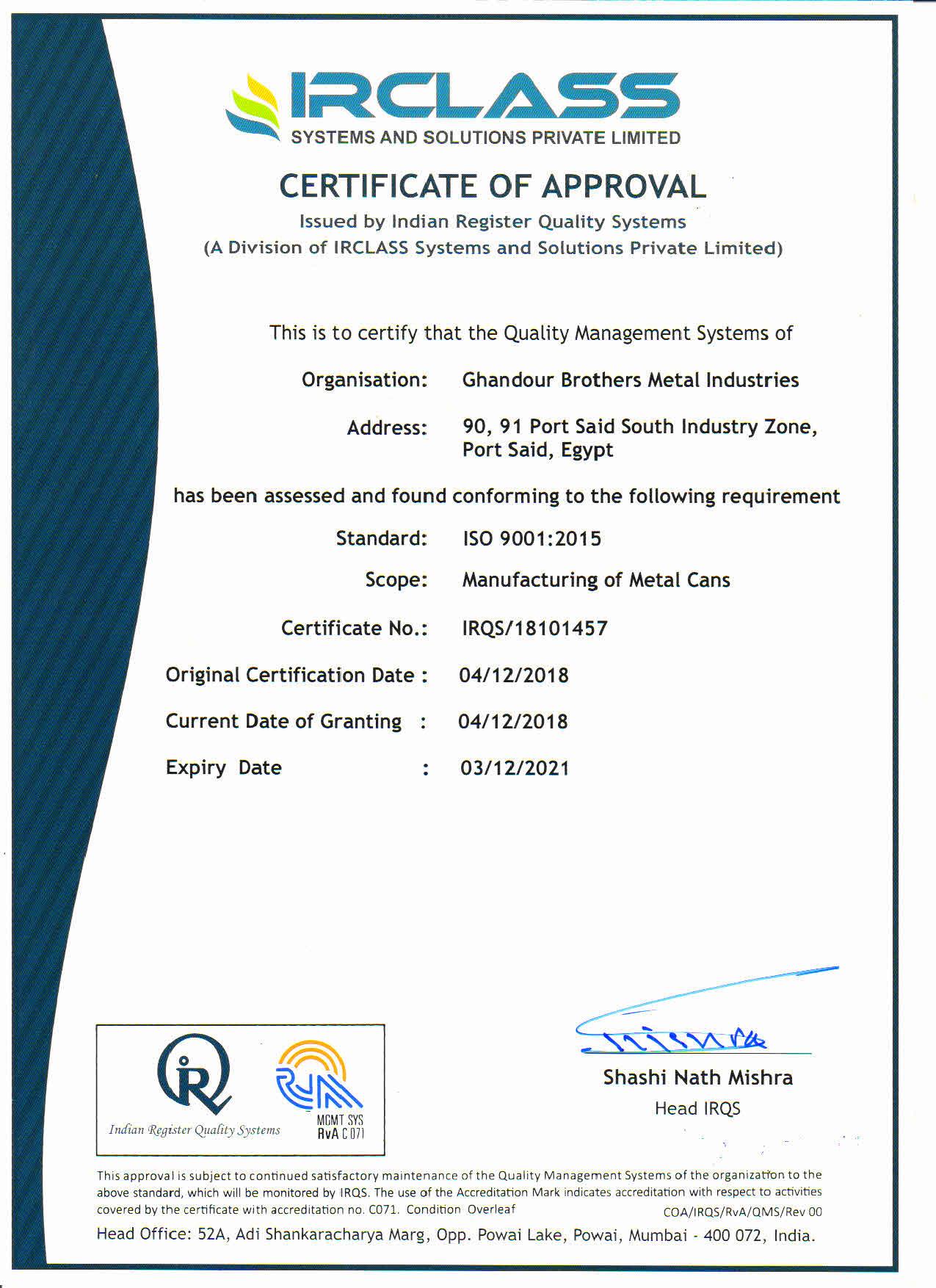 ISO 9001 Certificates